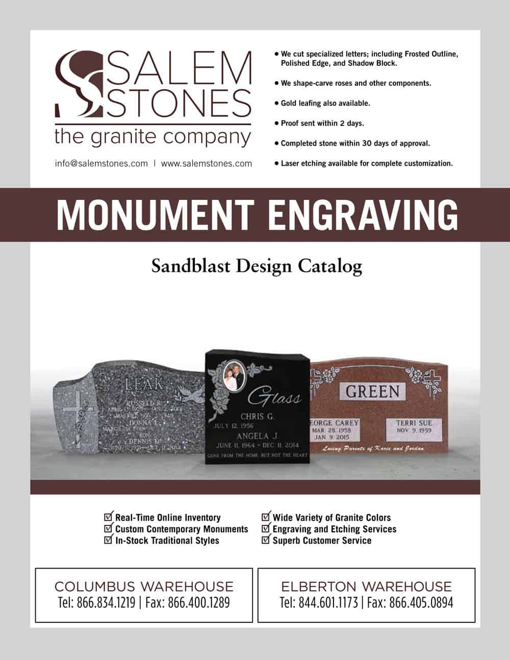 Salem Stones Monument Engraving Catalog