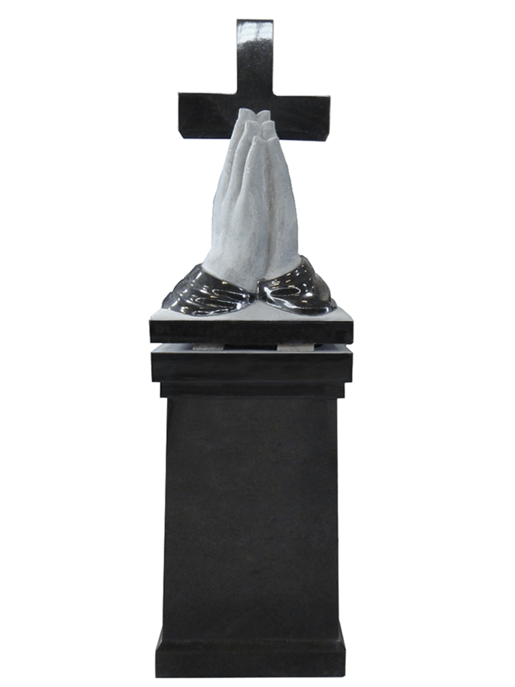 praying hands with cross pedestal – jet black