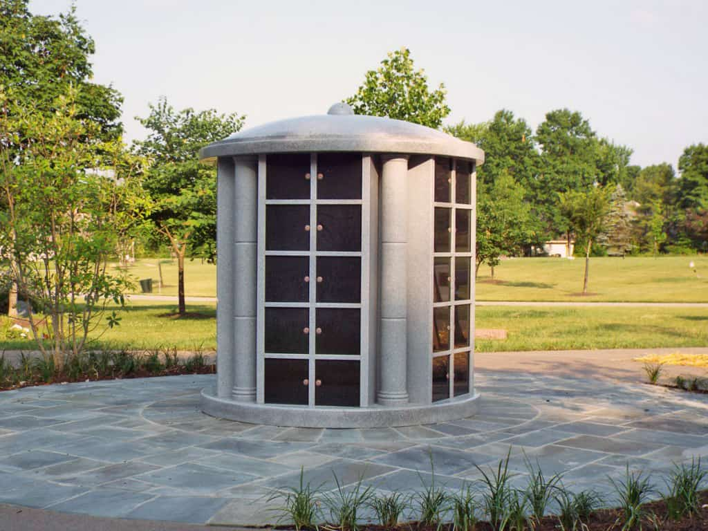Flint Cemetery Columbaria Grey with Black Doors