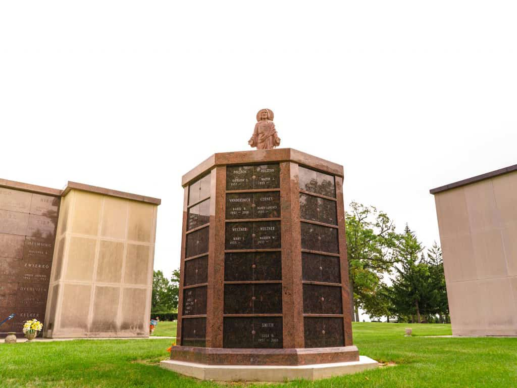 Fort Wayne Diocese Columbaria 144 niche red multi color with tan brown doors