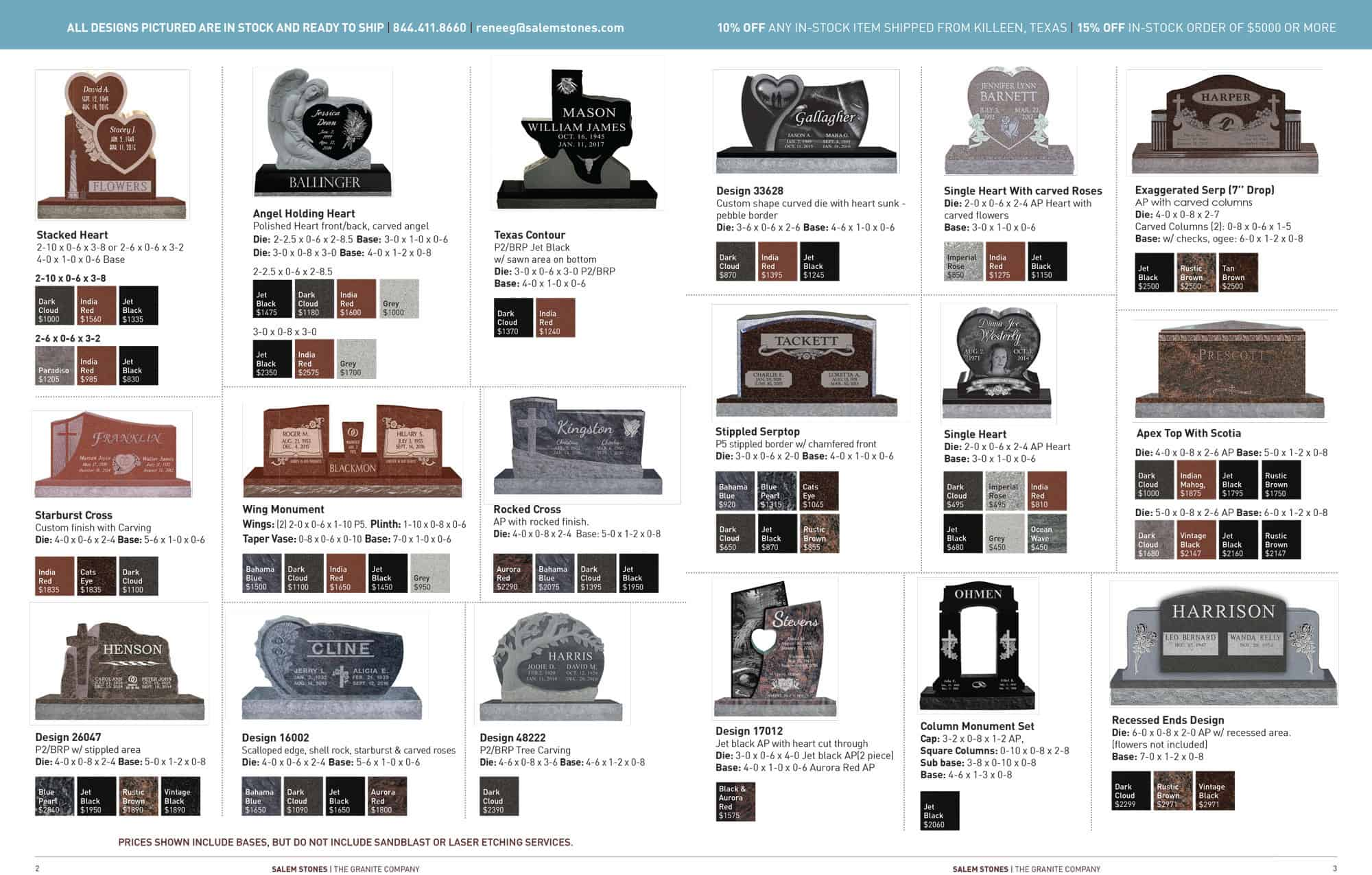 Our Current Selection of In-Stock Monuments