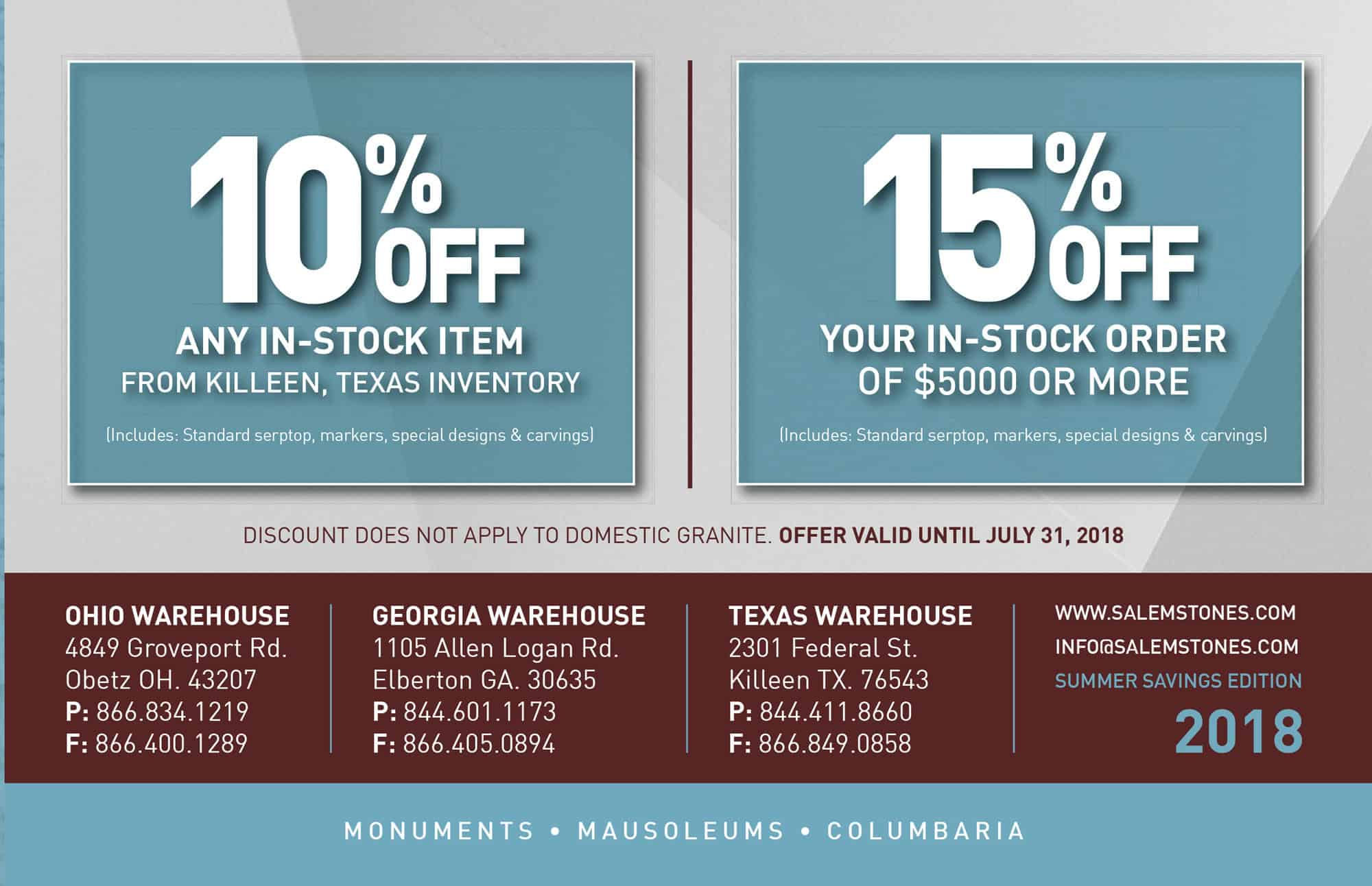 10% OFF orders from Texas Warehouse and 15% OFF all orders over $5,000