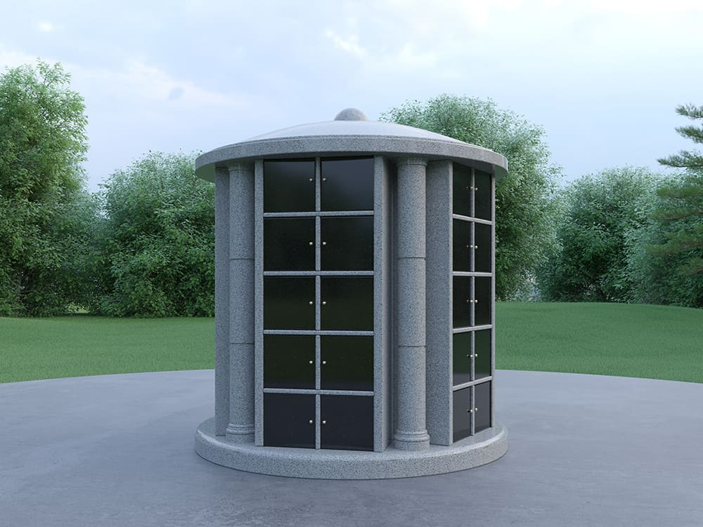 50 niche columbaria grey granite walls with black doors