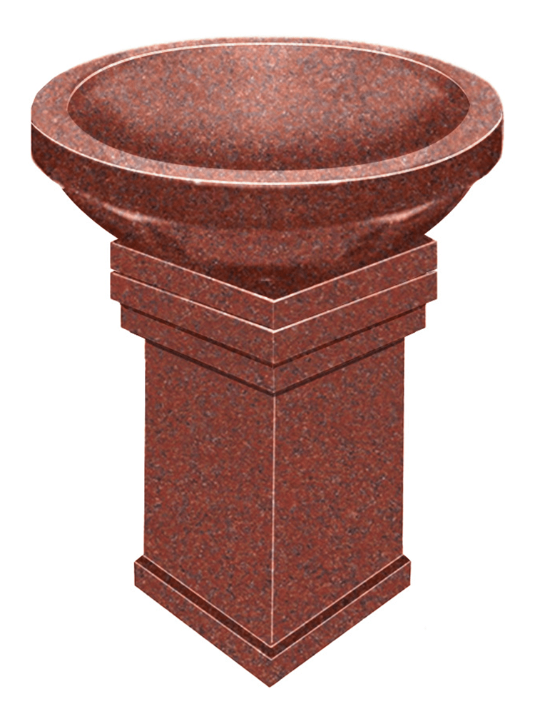 bird bath pedestal – india red