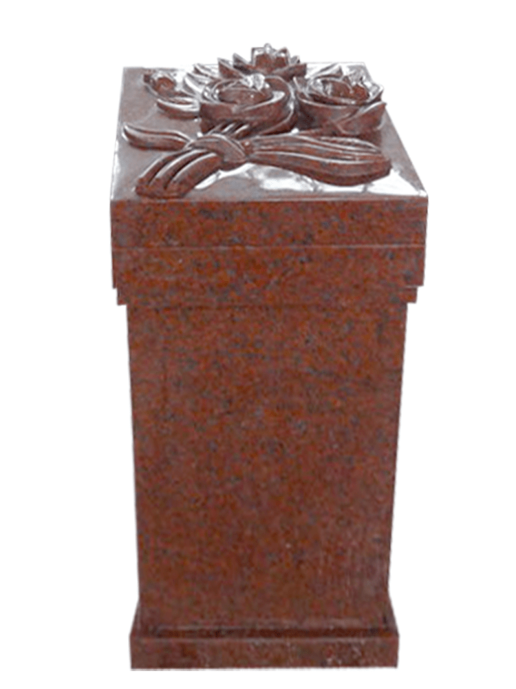 carved flowers pedestal – india red