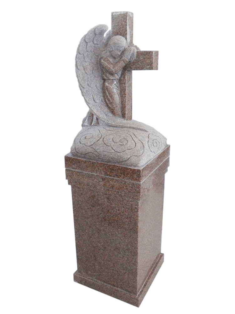 praying angel with cross pedestal – rosa beta